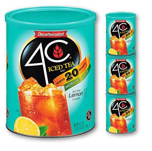 4C Powdered Drink Mix Cannisters   Family Sized Cannister   Thirst Quenching Flavors   20-28 quarts (Iced Tea - Decaf, 3pk)