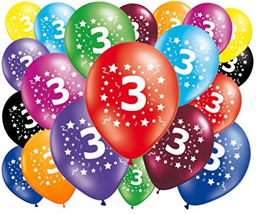 FABSUD Ballons Anniversaire 3 Ans - Lot de 20 Ballons 3