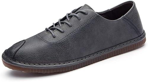 LYZGF Hommes Jeunes Printemps été Loisirs Rétro à La Mode Paresseux Chaussures en Cuir
