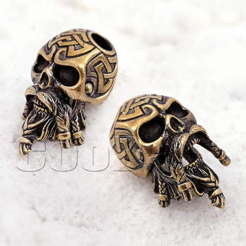 CooB 1Pcs/Lot EDC Paracord Bead Beads Pendant Charm Hair Beard. DIY Hand-Casted Metal Beads Pendants Charms for Paracord Bracelet, Charm Zipper Pull Warrior Viking ( Celtic Bearded Skull Bronze )