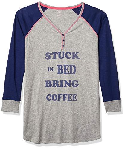 Amazon Brand - Mae Women's Sleepwear Henley Sleep Shirt, Heather Grey, S