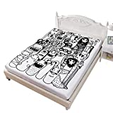 Twin XL Size Fitted Sheet,Hand Drawn Doodle Style Cartoon Figures Monsters Welcoming Community