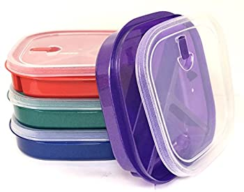 Vrinda  Set of 4  Microwave Food Storage Tray Container Square - 3 Section/Compartment Divided Plates w/Vented Lid