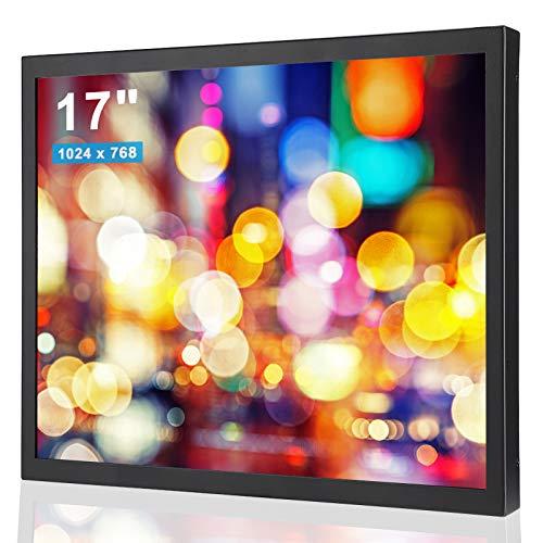 Bewinner 17 Pulgados 1000: 1 1280x1024 Pantalla de Carcasa de Metal,HD Monitor Industrial Full Metal con Interfaz HDMI/VGA/AV/BNC/USB TFT Pantalla Multifuncional Universal para PC, CCTV(EU)