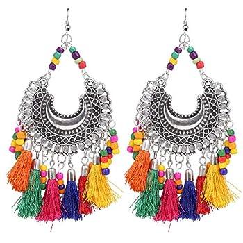 Efulgenz Boho Indian Tribal Gypsy Oxidized Silver Afghani Vintage Retro Thread Tassel Dangle Earrings Jewelry