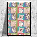 JFGJF Cuatro Gatos Meme del Apocalipsis Impresiones en Lienzo Póster e Impresiones Arte de la Pared Cuadros de Pintura Moderna Hotel Apartamento Decoración para el hogar-24X36 Pulgadas Sin Marco
