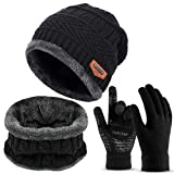 3 Pieces Winter Beanie Hat Scarf Set and Touch Screen Gloves Warm Thick