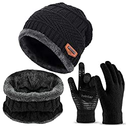 3-Piece Winter Beanie Hat Scarf Gloves Set