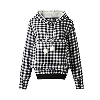 Pet Pouch Hoodie - Cat Dog Holder Sweatshirt Large Pocket Carrier Pullover Tops for Women  Black+White XX-Large