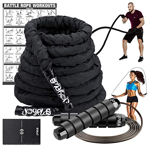 "JoyPlus Battle Rope Set-Heavy Battle Rope with Anchor Kit 1.5"""