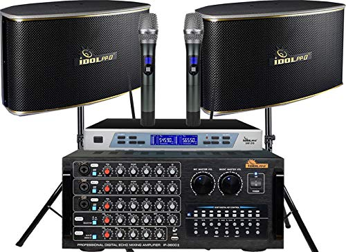 """IDOLpro 1300W Mixing Amplifier, 10"""" Speakers,and Dual Wireless Microphones Karaoke System FREE speaker Stand & Cables"""