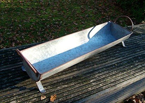 Deko-Impression Zinkzuber, Zinkwanne Pflanztopf Zinkbottich Pflanzschale 73 cm grau