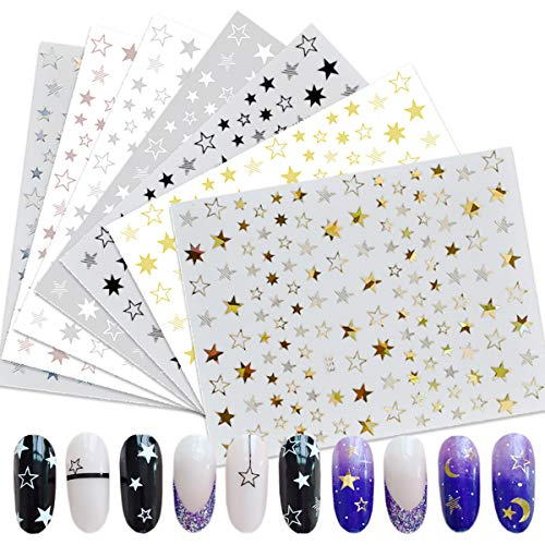 Star Nail Art Stickers 7 Sheets 3D Self-Adhesive Nail Art Decals Holographic Laser Nail Art Supplies Nail Slider Stars Stickers Glitter Shiny DIY Decoration Design Manicure Tips