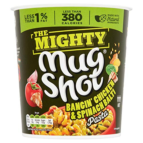 Mug Shot The Mighty Bangin' Chicken and Spinach Balti Pasta, 110g (Pack of 4 Pots)