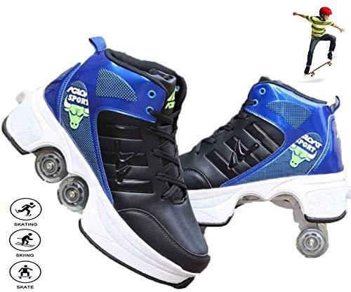 Shoe Allrad-Rollschuhe Weibliche Automatische Doppelzweck-Skates Lässige Verformung Zweireihige Rollschuhe 2-In-1-Versenkbare Multifunktionsschuhe,40