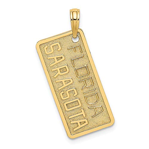 14k Yellow Gold Florida Sarasota License Plate Pendant Charm Necklace Travel Transportation Destination Fine Jewellery For Women Gifts For Her
