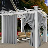 BONZER Tab Top Indoor/Outdoor Curtains for Patio - Privacy Waterproof Curtains for Bedroom, Living Room, Porch, Hot Tub, Gazabo, 52 x 84 inch, Grey, 1 Panel