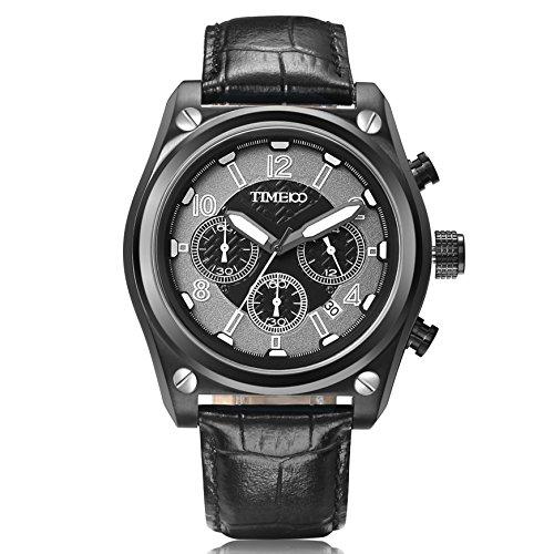 Time100 Orologio al quarzo in Acciaio Cronografo Pelle di Vitello Uomo#W70112G.03A