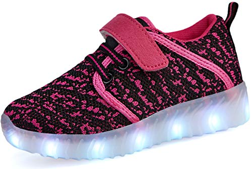 Nishiguang LED Leuchten Schuhe Kinder Mädchen Jungen Breathable blinkende Slip-On Sneakers (Kleinkind/kleines Kind/großes Kind) Rose rot28