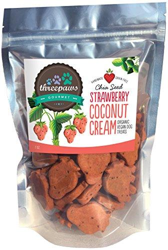 Strawberry Coconut Cream Chia Seed Gourmet Organic and Vegan Dog Treats -...