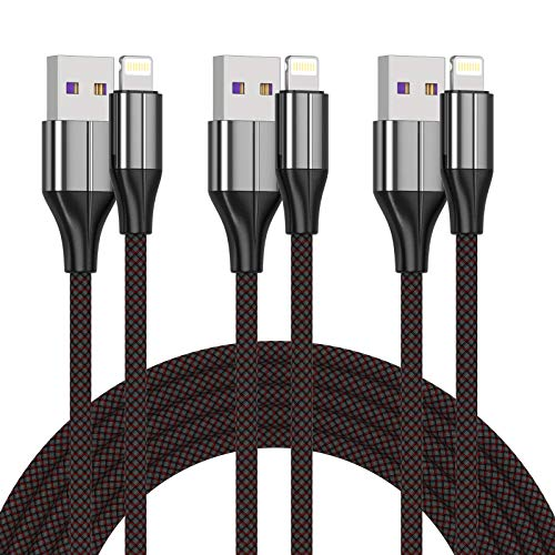 iPhone Charger Cable [MFi Certified] ,(3 Pack 10 Foot) Nylon Braided Lightning Cable, iPhone Charging Cord USB Cable Compatible with iPhone 11/Pro/X/Xs Max/XR/8 Plus /7 Plus/6/ iPad (Black)