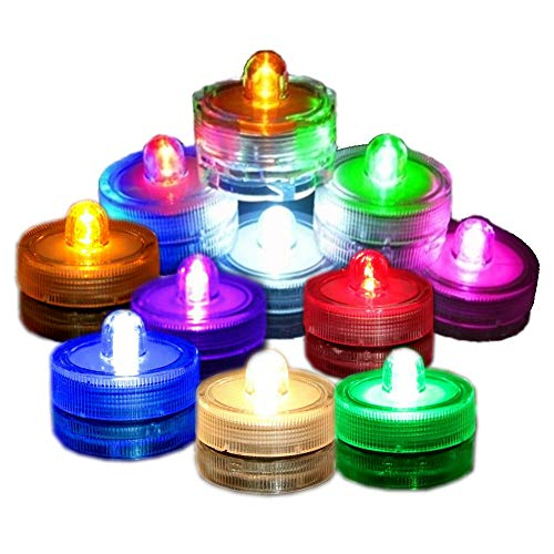 Fjiangyi Super Bright LED Battery Operated Flameless Tea Light, Submersible Tea Candle Waterproof Decorations Underwater Vase Light for Party Wedding Bar,Pack of 12 (Multi-Colored)
