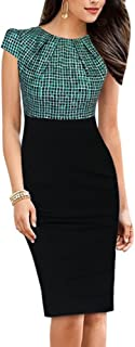 HOMEYEE Damen Vintage Rundhalsausschnitt Blumendruck Bodycon Business Bleistift Kleid B316