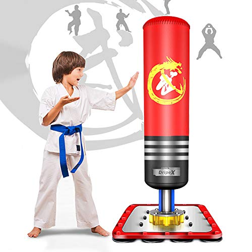 Dripex Kids Free Standing Boxing Punch Bag, Heavy Duty Punching Bag Stand with Suction Cup Base - 47', Red