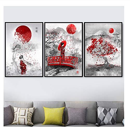 Suuyar Kunst Ölgemälde Japanischen Zen Tinte Bonsa Bushido Samurai Kanji Poster Leinwand Wandbilder Für Wohnzimmer Wohnkultur-50x70cmx100 Kein Rahmen
