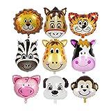 ZOEON 9 Piezas Globos Animales de la Selva para Decoración de la Fiesta de Cumpleaños de los Niños