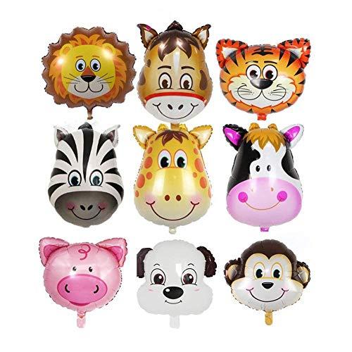 ZOEON Folienballon Tiere, Dschungel Tierballons, Luftballons Tiere für Kinderparty, 9er Pack