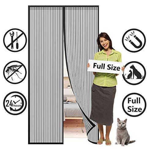 SODKK Fliegengitter tür, 100x230cm, Magnet Insektenschutz Tür, Magnetverschluss, faltbar, Luft kann frei strömen, für Flure/Türen, Schwarz