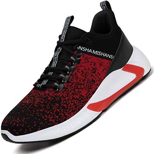 Mishansha Laufschuhe Turnschuhe für Herren Damen Atmungsaktiv Outdoor Gym Straßenlaufschuhe Leichtgewichts-Sneaker Rot Gr.42