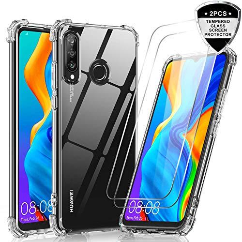 LeYi Cover Huawei P30 Lite / P30 Lite New Edition con [2 Pack] Vetro Temperato,Custodia Armor Trasparente Silicone Skin TPU Gel Bumper Originale Slim Crystal Antiurto Case per Telefono P30 Lite,Clear