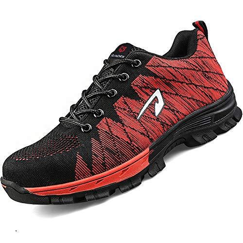 SUADEEX Damen Herren Sicherheitsschuhe Sportlich Trekking Wanderhalbschuhe Stahlkappe Arbeitsschuhe Hiking Schuhe Traillaufschuhe, 05-rot, 39 EU