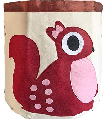 HoLo Aufbewahrungskörbe für mehr Ordnung in Ihrem Haushalt – als praktischer Spielzeugkorb im Kindezimmer oder Wäschekorb im Bad – Motiv Eichhörnchen