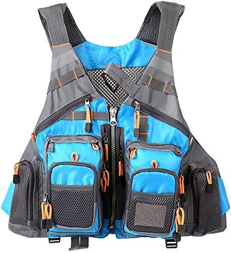 Safety vests LQ Chaleco de Pesca, la Pesca con Mosca de Malla Transpirable Pescadores Chaleco de los Hombres al Aire Libre y Las Mujeres de la Chaqueta Ajustable (Color : Blue, Size : One Size)