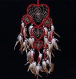 Ailiebhaus Attrape-rêves Indien Form cœur Dreamcatcher Capteur de rêve Plume Main Mur Décoration Voiture Chambre Suspendu Ornement Cadeaux (Rouge)