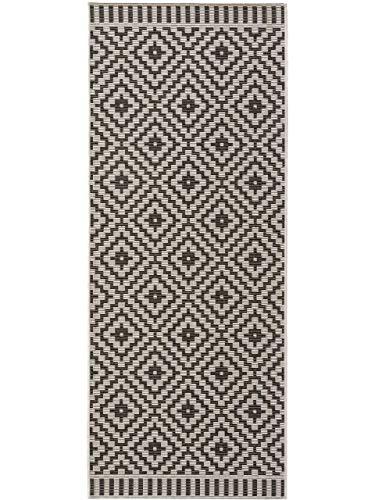 benuta PLUS In- & Outdoor-Teppich Metro Schwarz/Weiß 80x200 cm - Outdoor-Teppich für Balkon & Garten