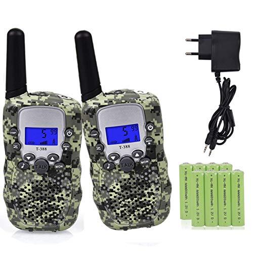 Miavogo 2 x Walkie Talkie Set für Kinder, Funkgerät mit Akkus PMR 3 km Reichweite Funkhandy, Tarnungsfarbe