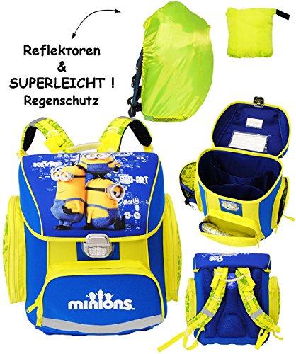 alles-meine.de GmbH 2 TLG. Set _ Schulranzen -  Minions - Ich einfach unverbesserlich  - & Regenschutzhülle _ SUPERLEICHT & ergonomisch + anatomisch - Schulrucksack / mit Refle..