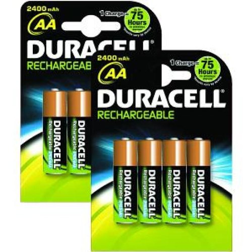 Guilty Gadgets® – 2 x 4 = 8 piles Duracell AA 2400 mAh rechargeable – Neuf UK Stock