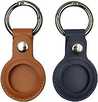 2個のAirtags保護カバー、Apple Airtagキーホルダー用、レザーAirtagsホルダーアンチロストケース、BluetoothトラッカーケースAirtags用保護スキン