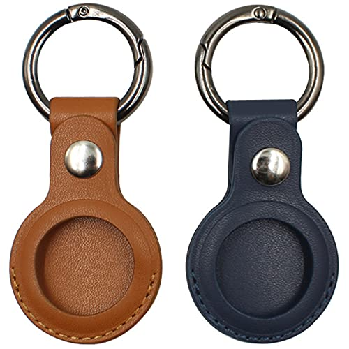 2 Pcs Airtags Protective Cover, for Apple Airtag Keychain, Airtag Leather Case, Airtags Holder Anti Lost Case, Bluetooth Tracker Case Protective Skin for Airtags (Brown+ Blue)