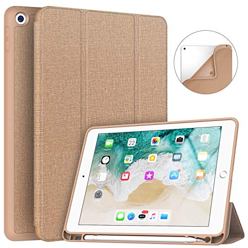 Soke iPad 9.7 2018/2017 Case with Pencil Holder, Smart iPad Case Trifold Stand with Shockproof Soft TPU Back Cover and Auto Sleep/Wake Function for iPad 9.7 inch 5th/6th Generation, Apricot