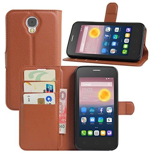 HualuBro Alcatel Pixi 4 (5 Zoll) 3G Hülle, Leder Brieftasche Etui Tasche Schutzhülle HandyHülle [Standfunktion] Lederhülle Flip Case Cover für Alcatel OneTouch Pixi4 5.0 Zoll 3G 5010D (Braun)