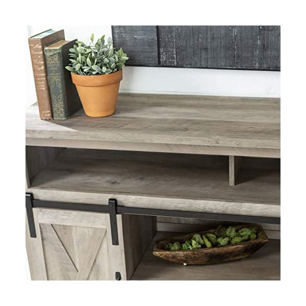 Walker Edison Modern Farmhouse Sliding Barndoor Wood Stand, 28 Inches, Grey Wash & Rustic Modern Farmhouse Metal and…