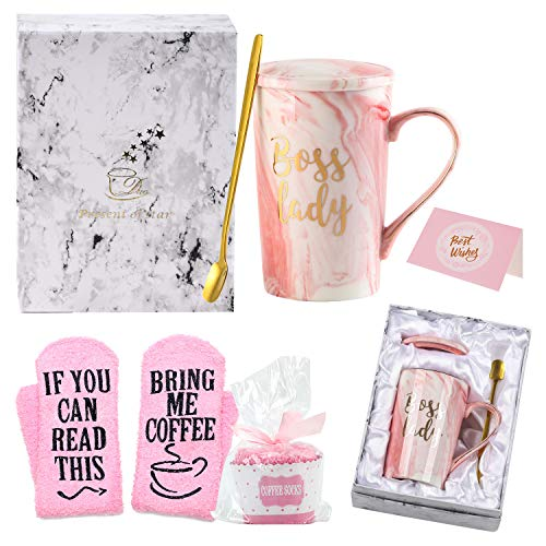 Boss Lady Gifts for Women, Boss Lady Coffee Mug, Funny Gifts for Mom, Boss, Wife, Sister, Aunt, Cousins, Friends, Coworker, 14 OZ Marble Ceramic Coffee Cup Set