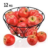 Toopify 12PCS Artificial Red Apples, Fake Fruit Lifelike Simulation Apples for Home Kitchen Table Basket Decoration,3.15'X 2.75'