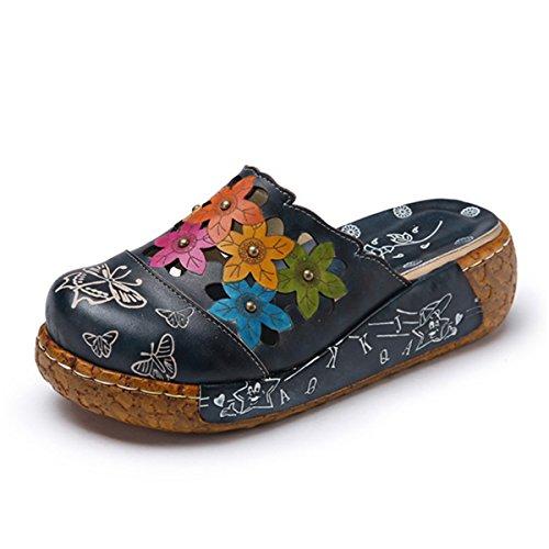 Socofy Women's Leather Slipper, Ladies Summer Slip-ONS Flat Sandals Oxford...